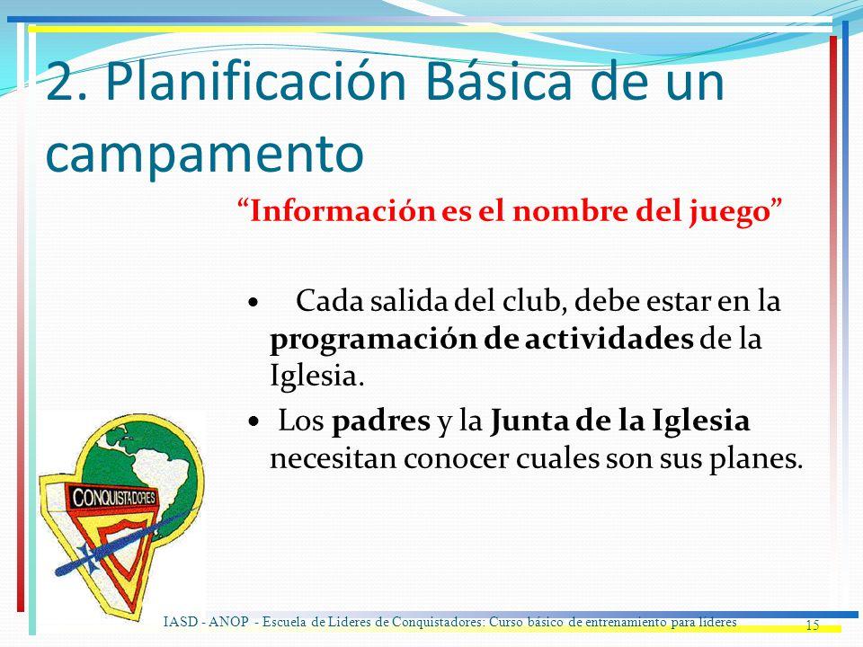 2. Planificación Básica de un campamento Información es el nombre del juego Cada salida del club, debe estar en la programación de actividades de la I