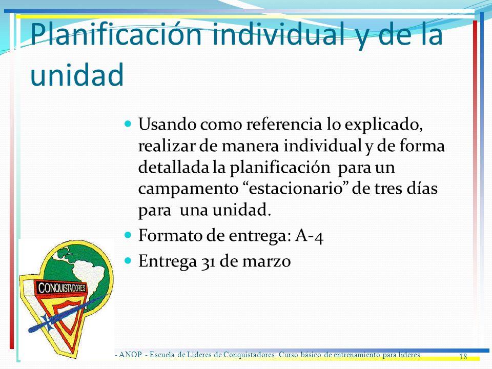 Planificación individual y de la unidad 18 IASD - ANOP - Escuela de Lideres de Conquistadores: Curso básico de entrenamiento para líderes Usando como