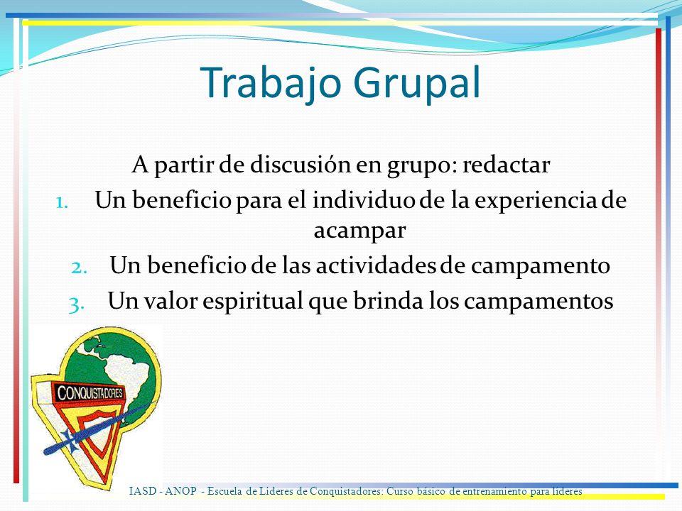 A partir de discusión en grupo: redactar 1. Un beneficio para el individuo de la experiencia de acampar 2. Un beneficio de las actividades de campamen