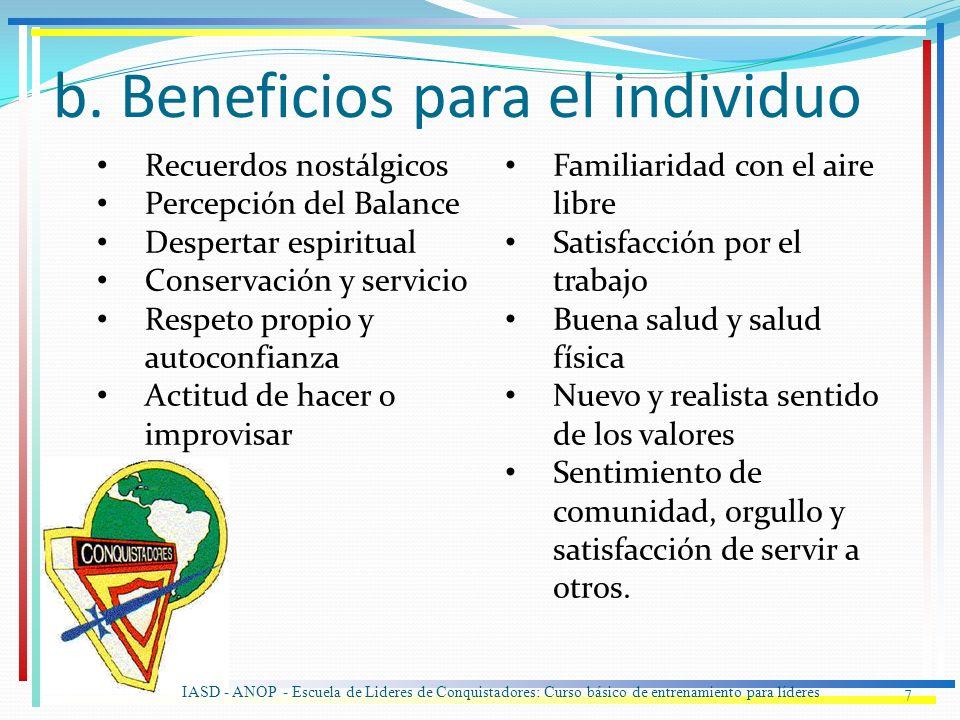 b. Beneficios para el individuo 7 Recuerdos nostálgicos Percepción del Balance Despertar espiritual Conservación y servicio Respeto propio y autoconfi