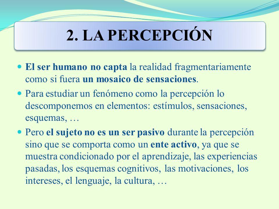 2. LA PERCEPCIÓN El ser humano no capta la realidad fragmentariamente como si fuera un mosaico de sensaciones. Para estudiar un fenómeno como la perce