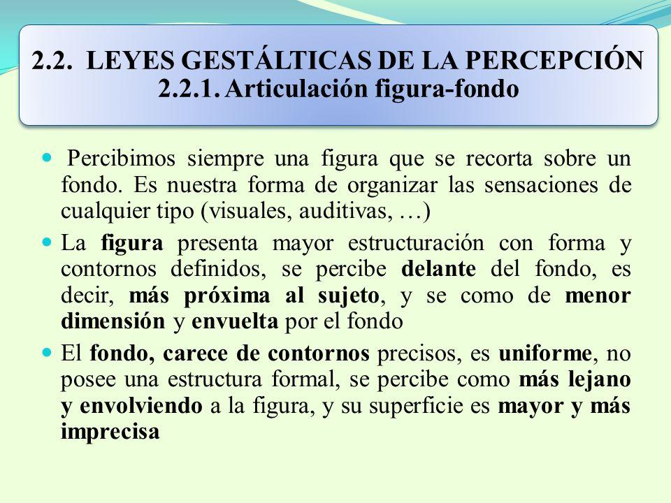 2.2. LEYES GESTÁLTICAS DE LA PERCEPCIÓN 2.2.1. Articulación figura-fondo Percibimos siempre una figura que se recorta sobre un fondo. Es nuestra forma
