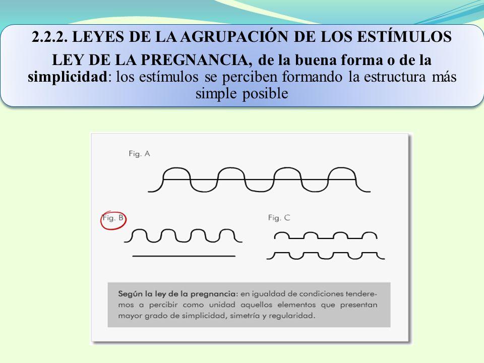 2.2.2. LEYES DE LA AGRUPACIÓN DE LOS ESTÍMULOS LEY DE LA PREGNANCIA, de la buena forma o de la simplicidad: los estímulos se perciben formando la estr