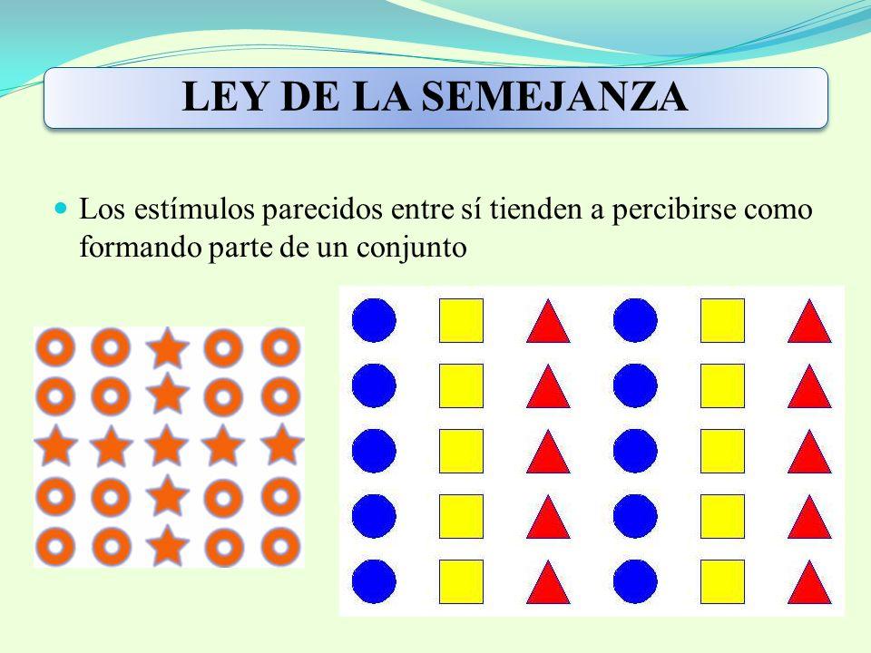 LEY DE LA SEMEJANZA Los estímulos parecidos entre sí tienden a percibirse como formando parte de un conjunto