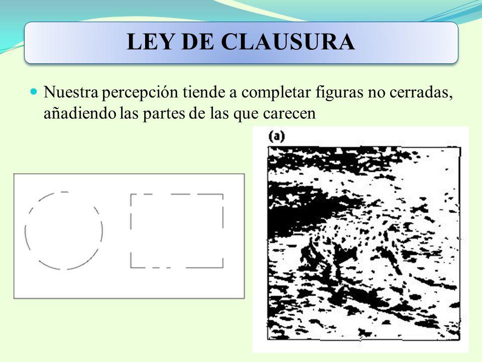 LEY DE CLAUSURA Nuestra percepción tiende a completar figuras no cerradas, añadiendo las partes de las que carecen