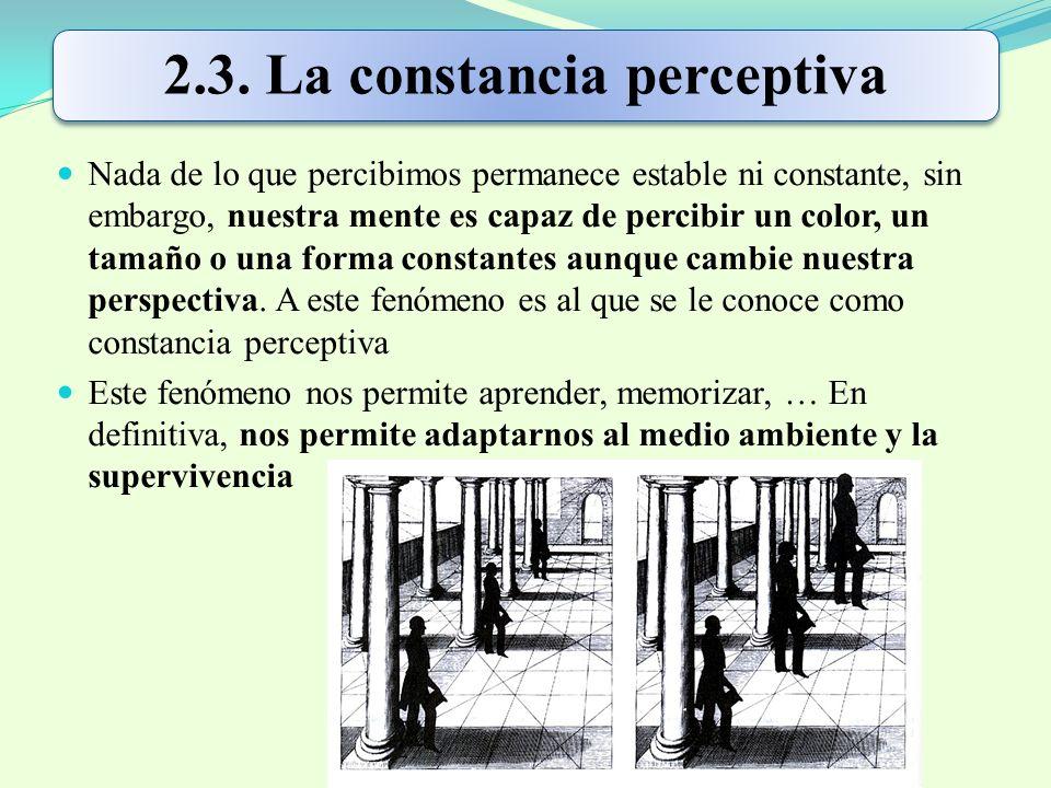 2.3. La constancia perceptiva Nada de lo que percibimos permanece estable ni constante, sin embargo, nuestra mente es capaz de percibir un color, un t