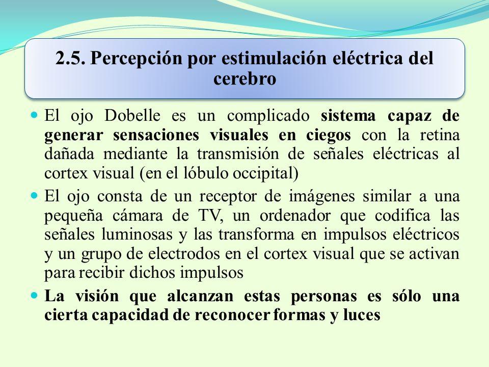 2.5. Percepción por estimulación eléctrica del cerebro El ojo Dobelle es un complicado sistema capaz de generar sensaciones visuales en ciegos con la