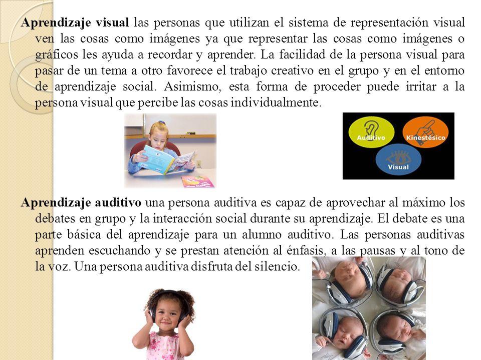 Aprendizaje visual las personas que utilizan el sistema de representación visual ven las cosas como imágenes ya que representar las cosas como imágene