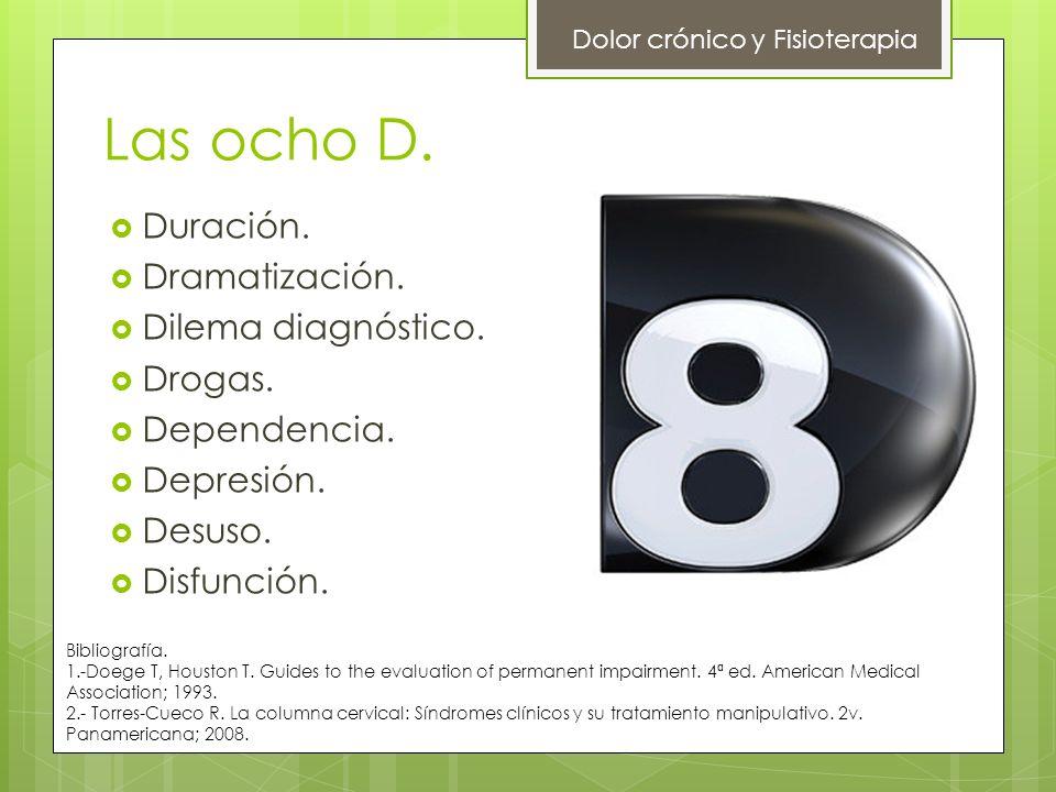 Las ocho D. Dolor crónico y Fisioterapia Duración. Dramatización. Dilema diagnóstico. Drogas. Dependencia. Depresión. Desuso. Disfunción. Bibliografía