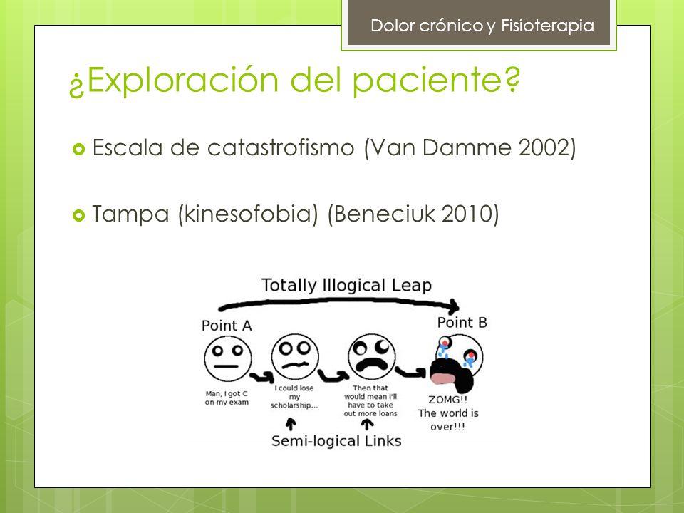 ¿Exploración del paciente? Escala de catastrofismo (Van Damme 2002) Tampa (kinesofobia) (Beneciuk 2010) Dolor crónico y Fisioterapia