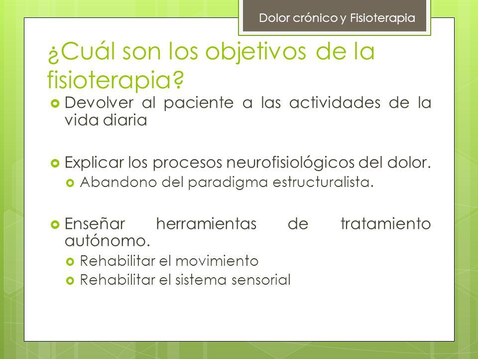 ¿Cuál son los objetivos de la fisioterapia? Devolver al paciente a las actividades de la vida diaria Explicar los procesos neurofisiológicos del dolor