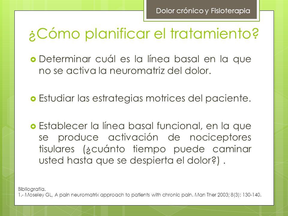 ¿Cómo planificar el tratamiento? Dolor crónico y Fisioterapia Determinar cuál es la línea basal en la que no se activa la neuromatriz del dolor. Estud