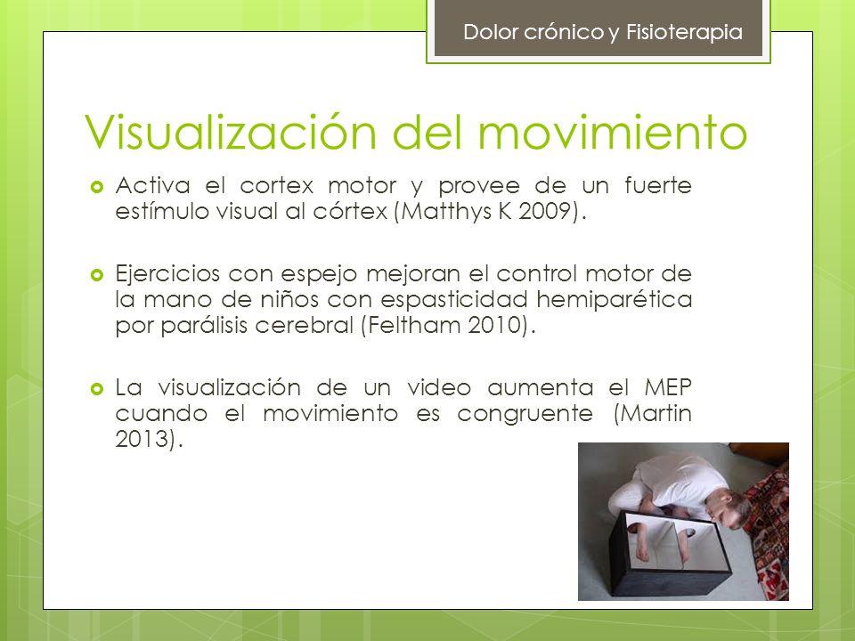 Visualización del movimiento Activa el cortex motor y provee de un fuerte estímulo visual al córtex (Matthys K 2009). Ejercicios con espejo mejoran el