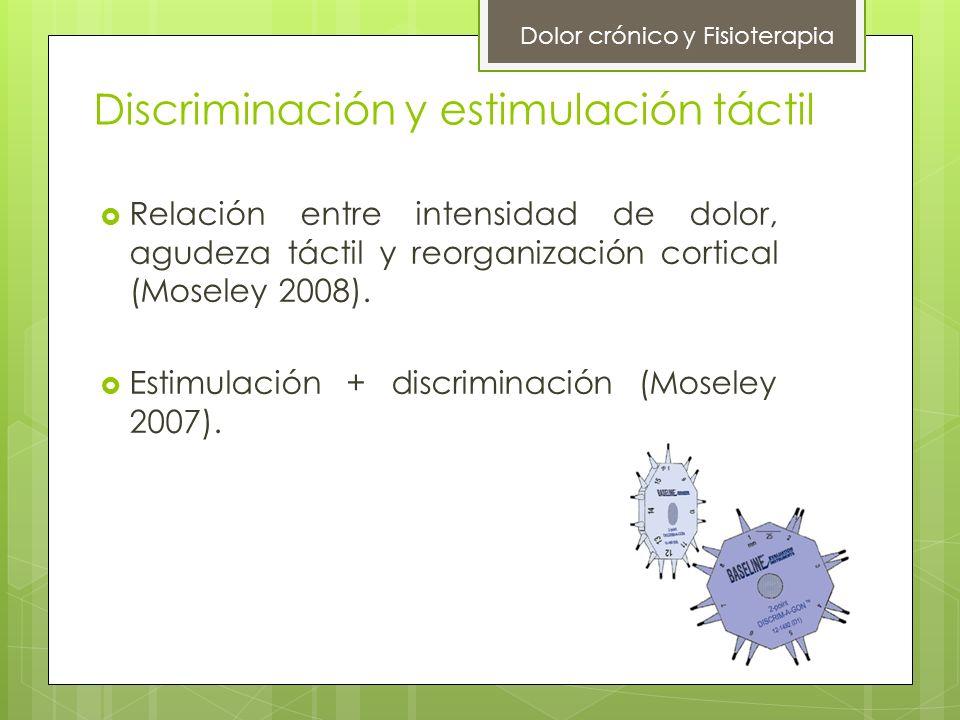 Discriminación y estimulación táctil Relación entre intensidad de dolor, agudeza táctil y reorganización cortical (Moseley 2008). Estimulación + discr