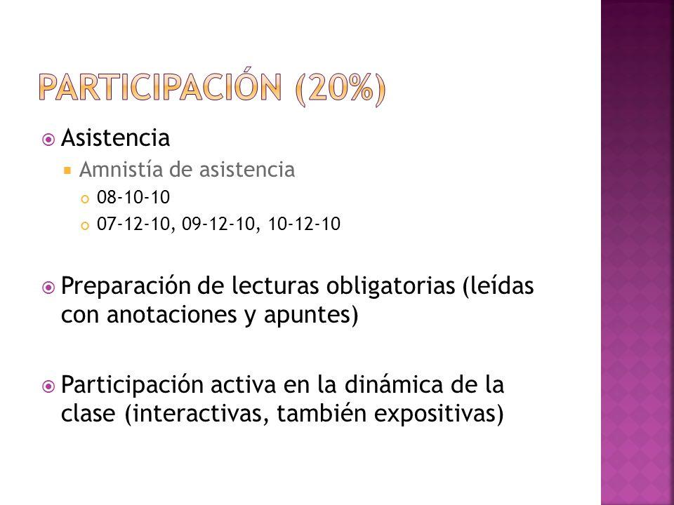 Asistencia Amnistía de asistencia 08-10-10 07-12-10, 09-12-10, 10-12-10 Preparación de lecturas obligatorias (leídas con anotaciones y apuntes) Partic