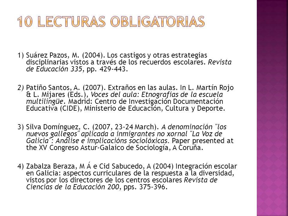 1) Suárez Pazos, M. (2004). Los castigos y otras estrategias disciplinarias vistos a través de los recuerdos escolares. Revista de Educación 335, pp.