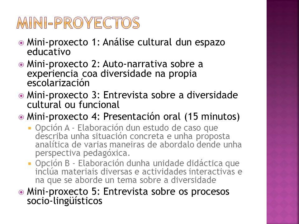 Mini-proxecto 1: Análise cultural dun espazo educativo Mini-proxecto 2: Auto-narrativa sobre a experiencia coa diversidade na propia escolarización Mi