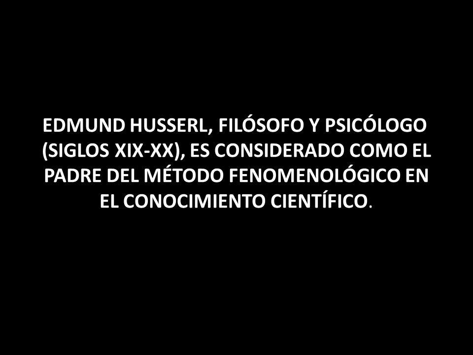 El Método fenomenológico de Husserl, consiste en la utilización de un modo de reducción (epojé) poner entre paréntesis la existencia del mundo y de la propia conciencia, y no quedarse sino con su esencia, la que luego deberá someterse a una descripción pulcra y desinteresada.