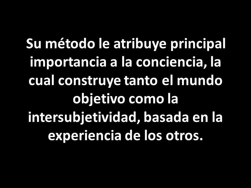Su método le atribuye principal importancia a la conciencia, la cual construye tanto el mundo objetivo como la intersubjetividad, basada en la experiencia de los otros.