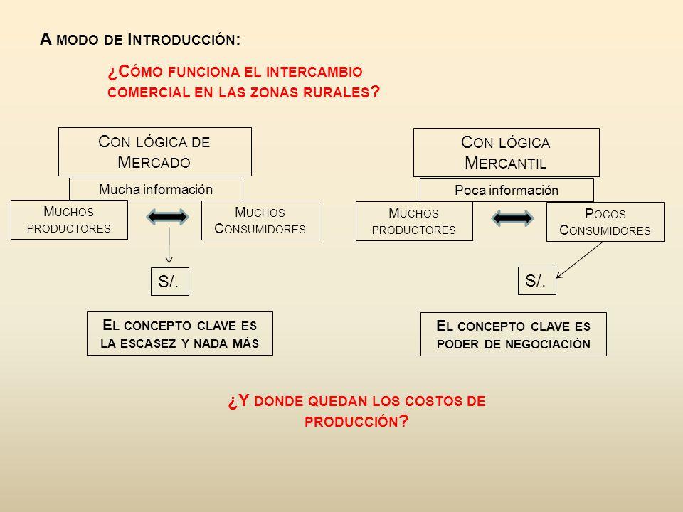 A MODO DE I NTRODUCCIÓN : ¿C ÓMO FUNCIONA EL INTERCAMBIO COMERCIAL EN LAS ZONAS RURALES .