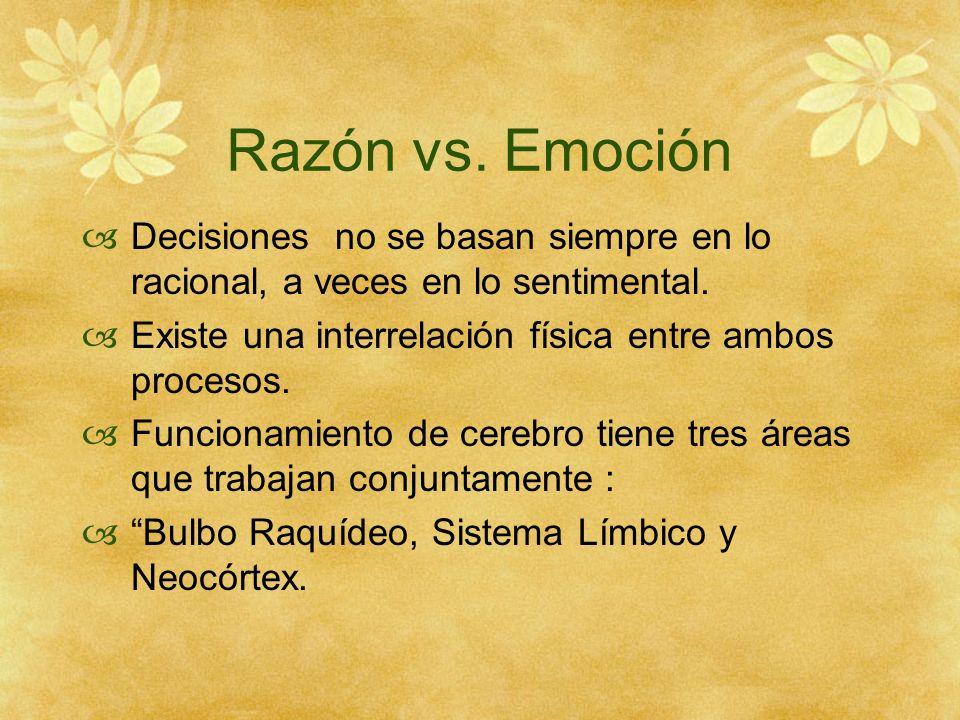 Razón vs. Emoción Decisiones no se basan siempre en lo racional, a veces en lo sentimental. Existe una interrelación física entre ambos procesos. Func