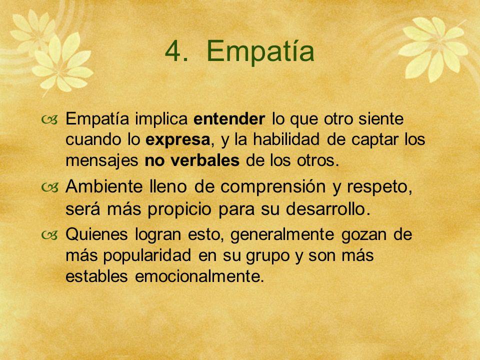 4. Empatía Empatía implica entender lo que otro siente cuando lo expresa, y la habilidad de captar los mensajes no verbales de los otros. Ambiente lle