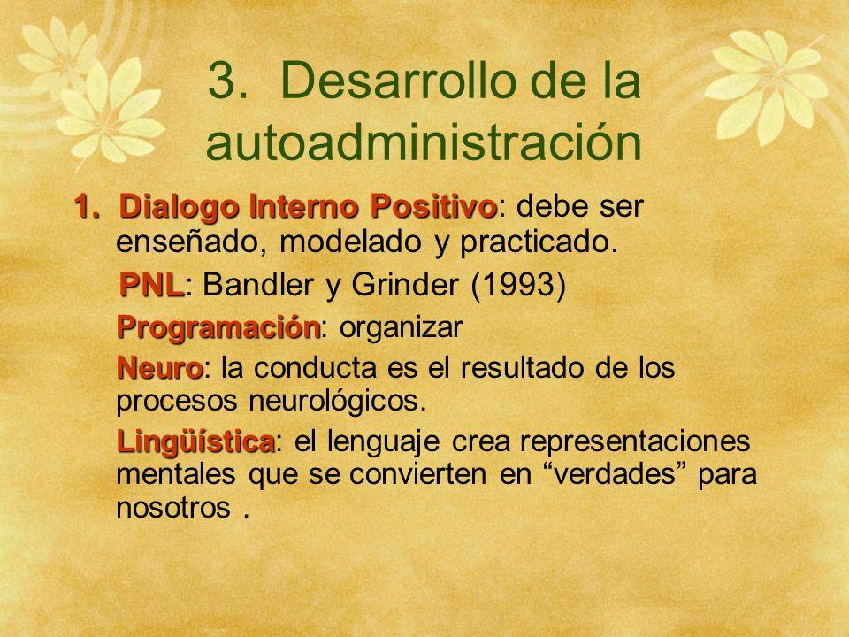3. Desarrollo de la autoadministración 1. Dialogo Interno Positivo 1. Dialogo Interno Positivo: debe ser enseñado, modelado y practicado. PNL PNL: Ban