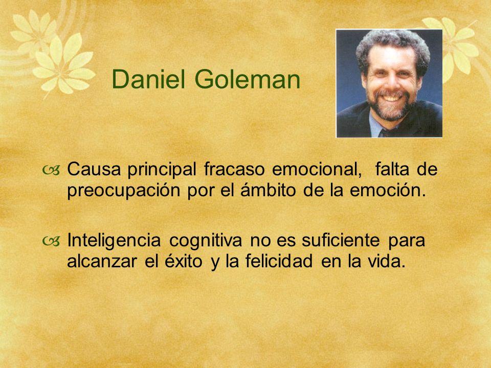 Daniel Goleman Causa principal fracaso emocional, falta de preocupación por el ámbito de la emoción. Inteligencia cognitiva no es suficiente para alca