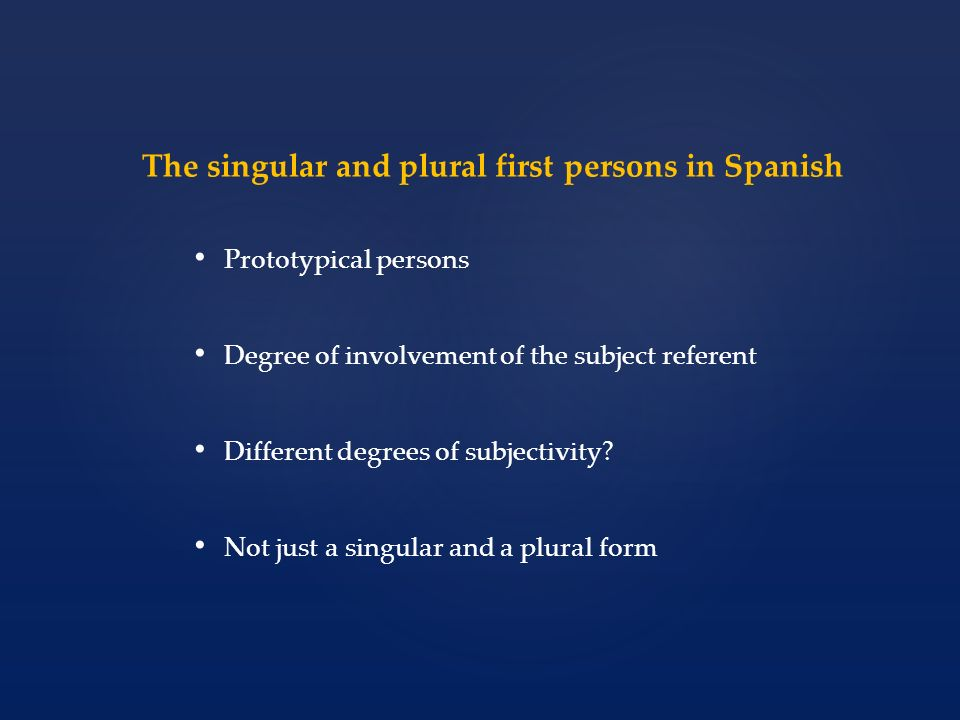 The cognitive meanings of the singular and plural first persons Variation in syntax is inherently meaningful The meaning of a syntactic choice cannot be identical to that of its alleged alternatives The expression and omission of subject pronouns can be explained through the variable salience and informativeness of their referents