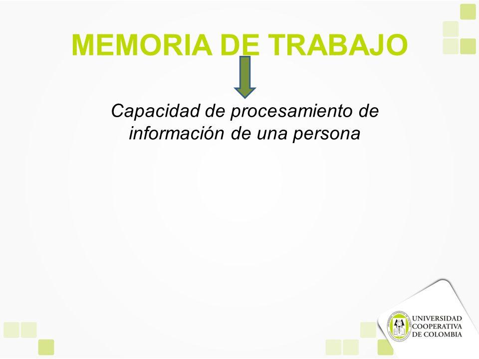 MEMORIA DE TRABAJO Capacidad de procesamiento de información de una persona