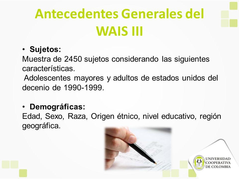Antecedentes Generales del WAIS III Sujetos: Muestra de 2450 sujetos considerando las siguientes características. Adolescentes mayores y adultos de es