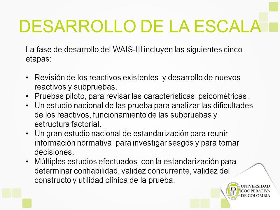 DESARROLLO DE LA ESCALA La fase de desarrollo del WAIS-III incluyen las siguientes cinco etapas: Revisión de los reactivos existentes y desarrollo de