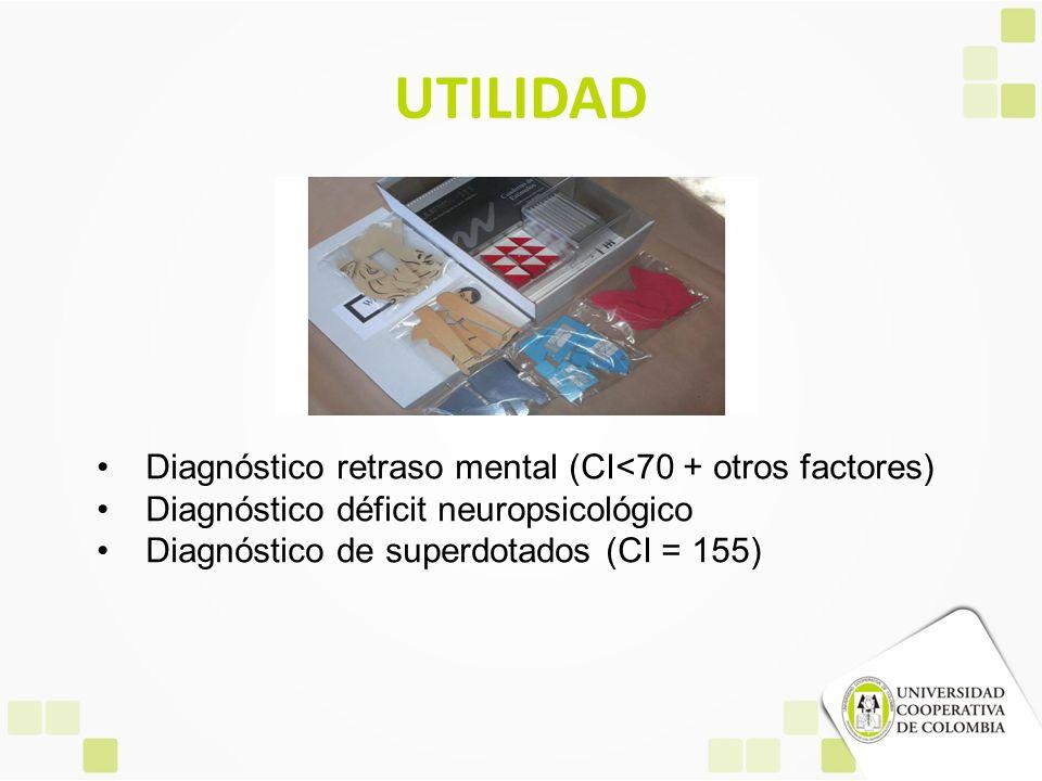 UTILIDAD Diagnóstico retraso mental (CI<70 + otros factores) Diagnóstico déficit neuropsicológico Diagnóstico de superdotados (CI = 155)