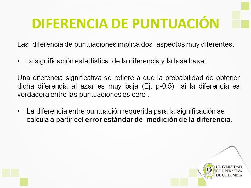 DIFERENCIA DE PUNTUACIÓN Las diferencia de puntuaciones implica dos aspectos muy diferentes: La significación estadística de la diferencia y la tasa b