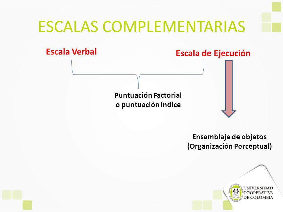 ESCALAS COMPLEMENTARIAS Escala Verbal Escala de Ejecución Puntuación Factorial o puntuación índice Ensamblaje de objetos (Organización Perceptual)