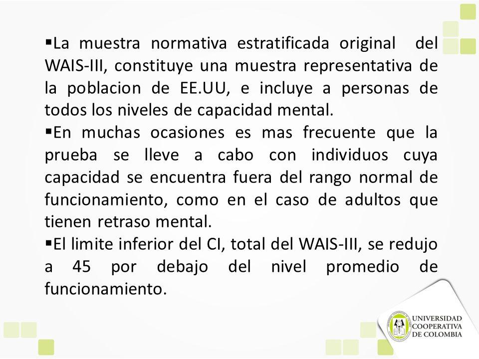 La muestra normativa estratificada original del WAIS-III, constituye una muestra representativa de la poblacion de EE.UU, e incluye a personas de todo