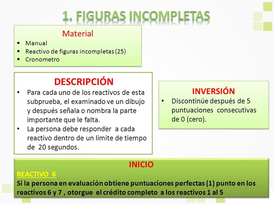 Material Manual Reactivo de figuras incompletas (25) Cronometro Material Manual Reactivo de figuras incompletas (25) Cronometro DESCRIPCIÓN Para cada