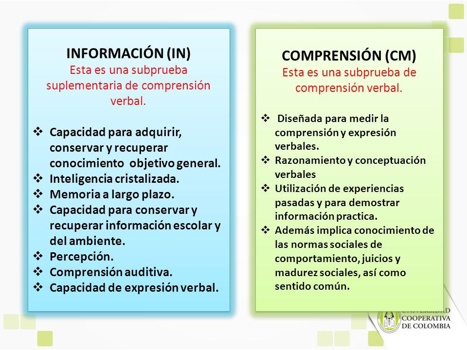 INFORMACIÓN (IN) Esta es una subprueba suplementaria de comprensión verbal. Capacidad para adquirir, conservar y recuperar conocimiento objetivo gener