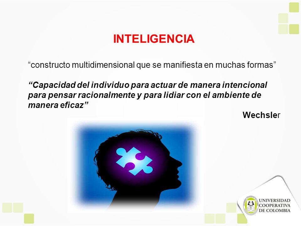 INTELIGENCIA constructo multidimensional que se manifiesta en muchas formas Capacidad del individuo para actuar de manera intencional para pensar raci