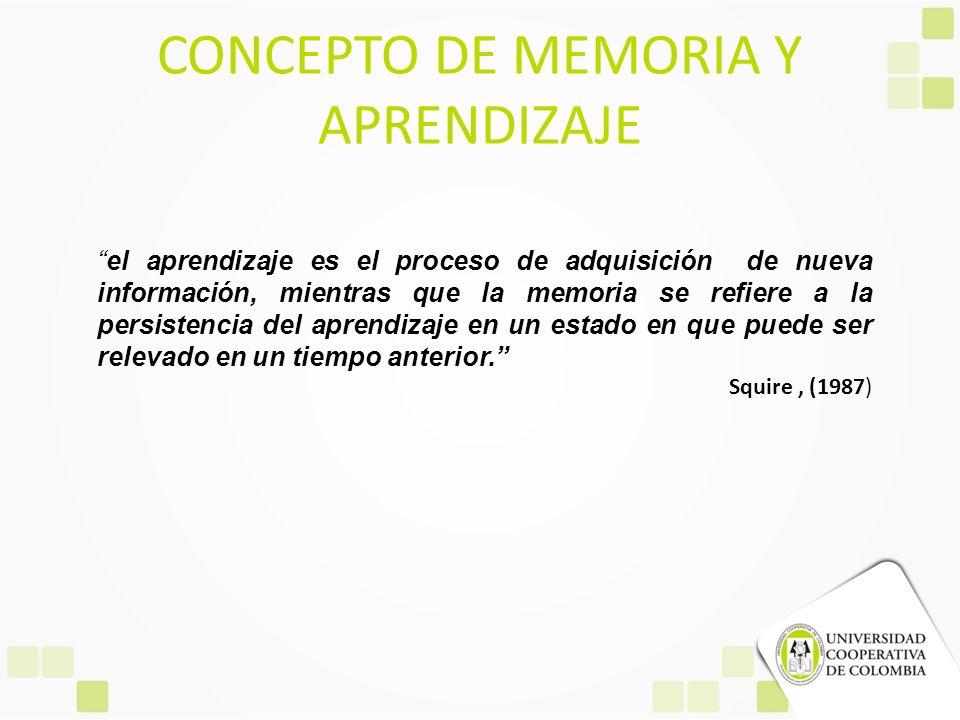 CONCEPTO DE MEMORIA Y APRENDIZAJE el aprendizaje es el proceso de adquisición de nueva información, mientras que la memoria se refiere a la persistenc