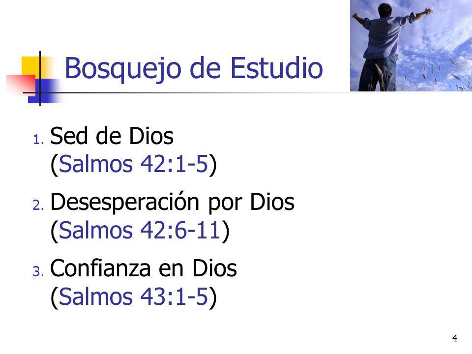 1. Sed de Dios (Salmos 42:1-5) 2. Desesperación por Dios (Salmos 42:6-11) 3. Confianza en Dios (Salmos 43:1-5) 4 Bosquejo de Estudio