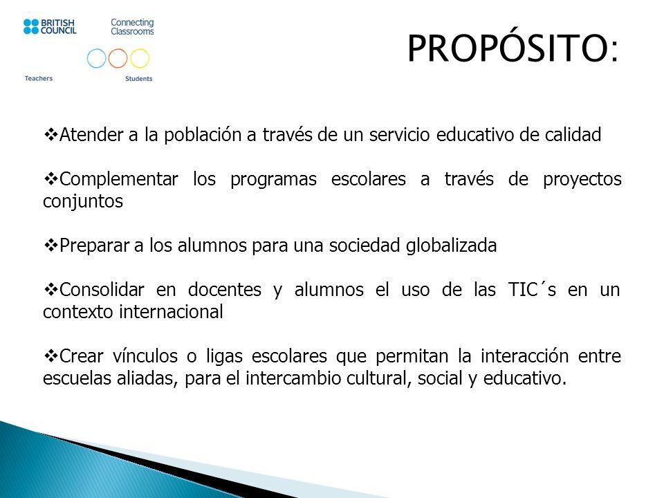 MODALIDAD: Establecimiento de ligas o vínculos, mediante: E-Mail (Dirección de correo electrónico individual) Website (Página de internet de cada escuela) E-Languages (Plataforma de enlace de Connecting classrooms) Videoconferencias (Skipe) Intercambio de proyectos conjuntos (Reino Unido – México).
