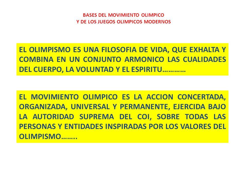 BASES DEL MOVIMIENTO OLIMPICO Y DE LOS JUEGOS OLIMPICOS MODERNOS EL DEPORTE PUEDE TRANSFORMAR AL HOMBRE SANO SOCIABLE SEGURO HONESTO DISCIPLINADO METODICO ORGANIZADO OBJETIVO RESPETUOSO COLABORADOR EMPRENDEDOR DESARROLLO ARMONICO DEL HOMBRE