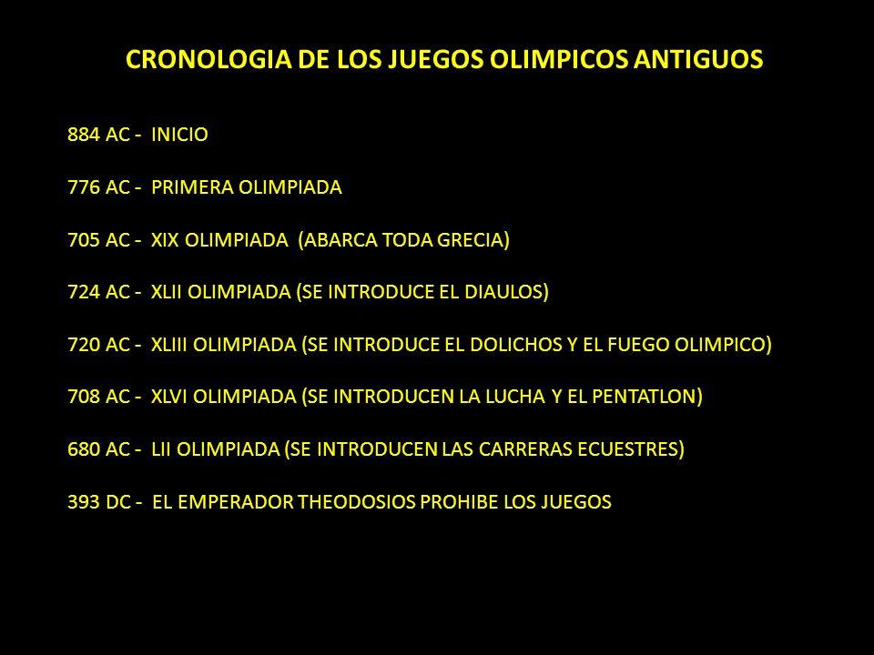 CRONOLOGIA DE LOS JUEGOS OLIMPICOS ANTIGUOS 884 AC - INICIO 776 AC - PRIMERA OLIMPIADA 705 AC - XIX OLIMPIADA (ABARCA TODA GRECIA) 724 AC - XLII OLIMP