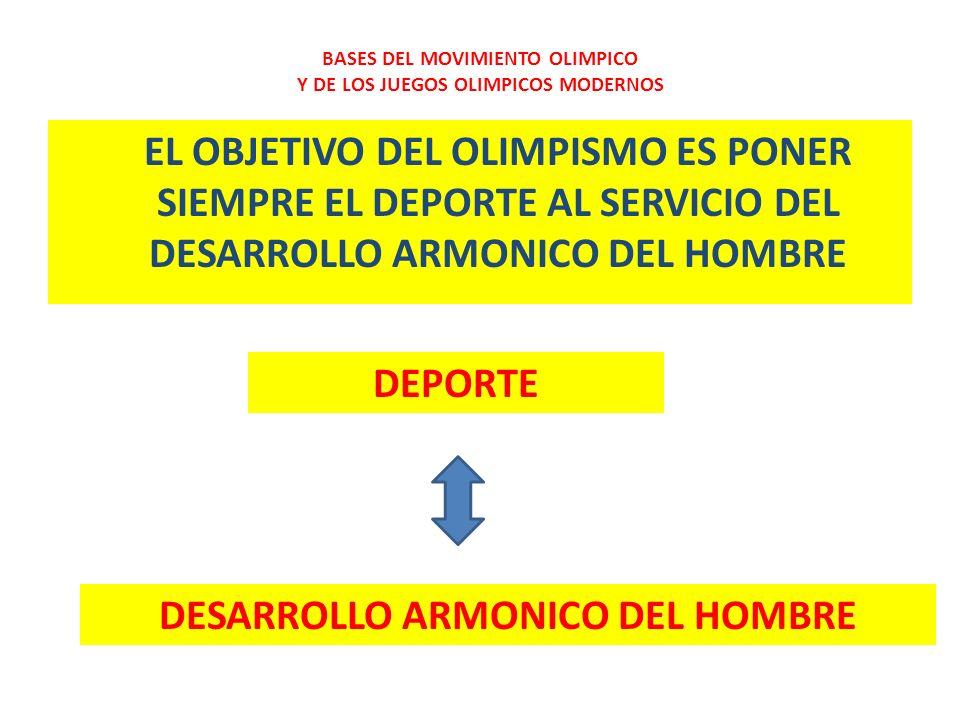 EL OBJETIVO DEL OLIMPISMO ES PONER SIEMPRE EL DEPORTE AL SERVICIO DEL DESARROLLO ARMONICO DEL HOMBRE BASES DEL MOVIMIENTO OLIMPICO Y DE LOS JUEGOS OLI