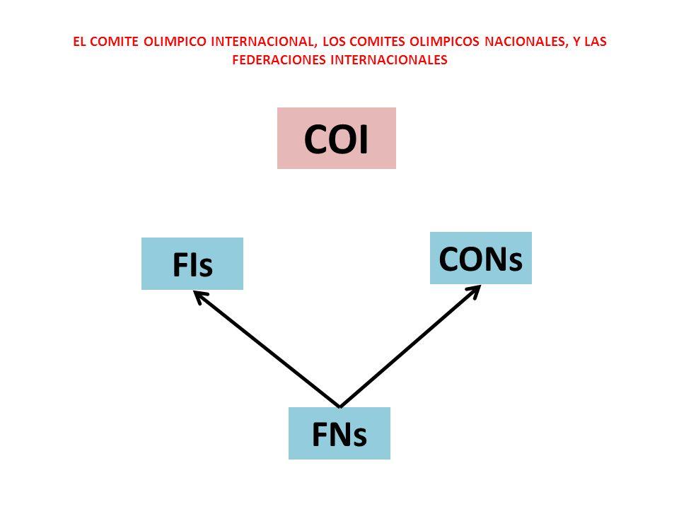 EL COMITE OLIMPICO INTERNACIONAL, LOS COMITES OLIMPICOS NACIONALES, Y LAS FEDERACIONES INTERNACIONALES COI FIs CONs FNs