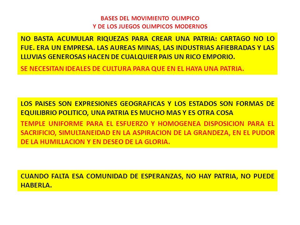INTRODUCCION AL OLIMPISMO 1.BASES DEL MOVIMIENTO OLIMPICO Y DE LOS JUEGOS OLIMPICOS MODERNOS 2.