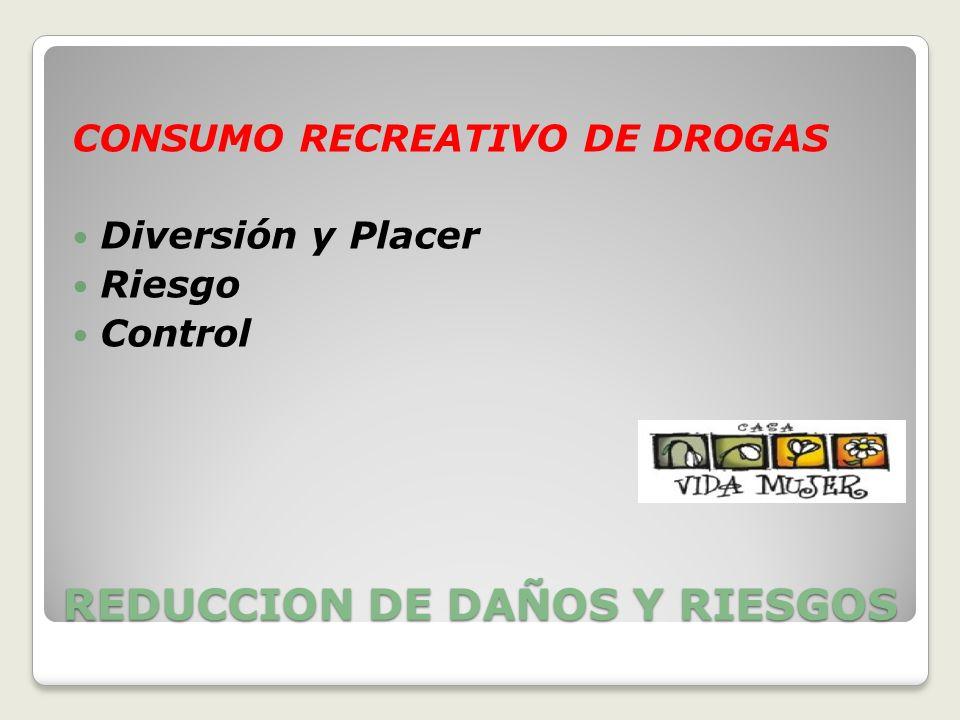 REDUCCION DE DAÑOS Y RIESGOS CONSUMO RECREATIVO DE DROGAS Diversión y Placer Riesgo Control