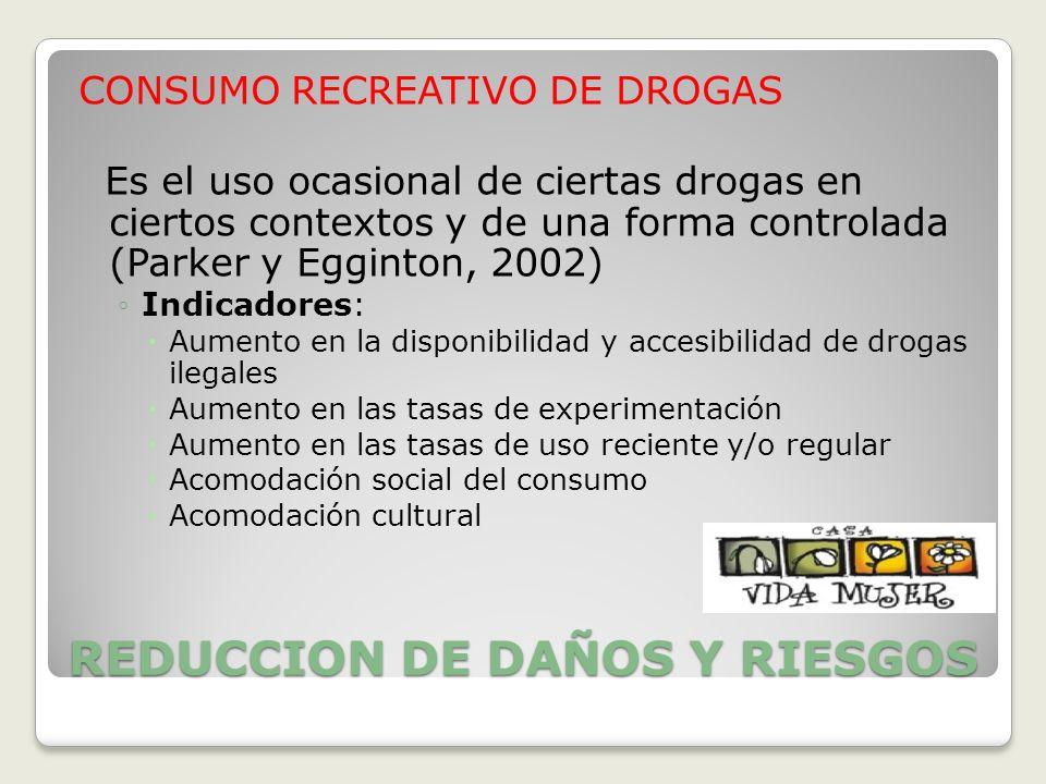 REDUCCION DE DAÑOS Y RIESGOS CONSUMO RECREATIVO DE DROGAS Es el uso ocasional de ciertas drogas en ciertos contextos y de una forma controlada (Parker