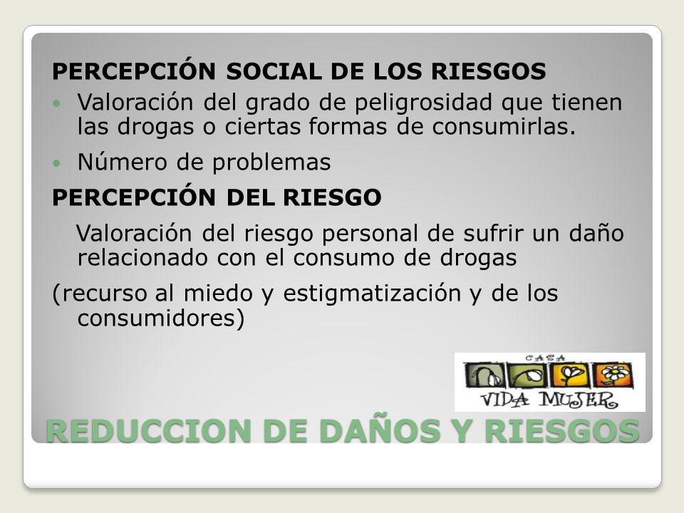 REDUCCION DE DAÑOS Y RIESGOS PERCEPCIÓN SOCIAL DE LOS RIESGOS Valoración del grado de peligrosidad que tienen las drogas o ciertas formas de consumirl